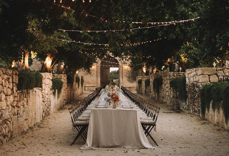A wedding table in Dimora delle Balze, Noto, Sicily.